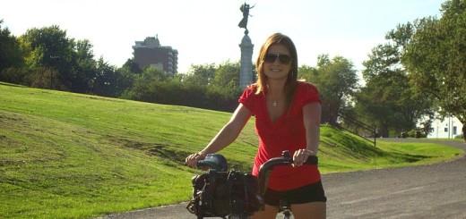 Enjoying the BIXI bike in Montreal.