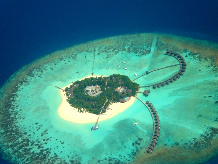 An aerial view of a resort in the Maldives.