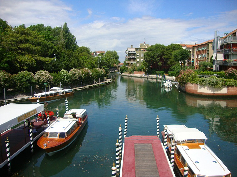 Canals in Lido, Italy.