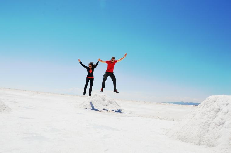 Jumping off salt cones in the Uyuni Salt Flats.
