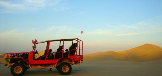 Sand dunes in Huacachina, Peru.