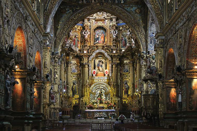 Inside a beautiful cathedral in Quito.