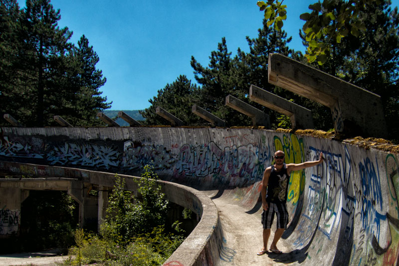 Dave at the Sarajevo Olympic Bobsled track in Bosnia.