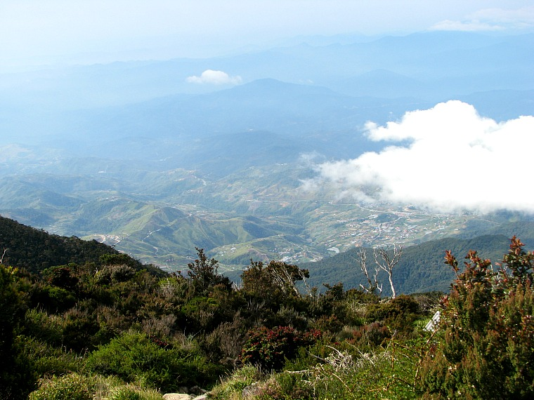 Looking down from Mount Kinabalu.