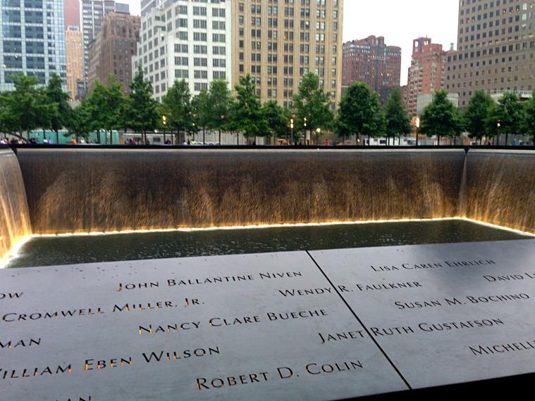 Ground Zero at the World Trade Center Memorial.
