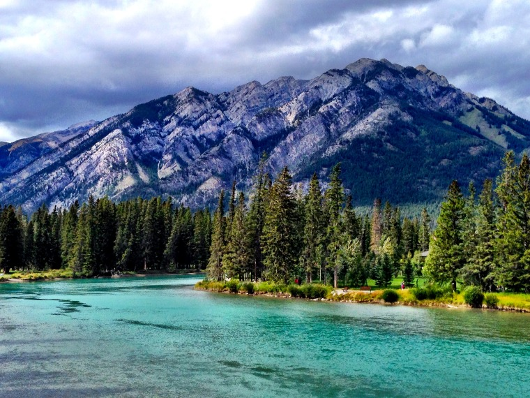 The gorgeous Bow River in Banff. alberta canada