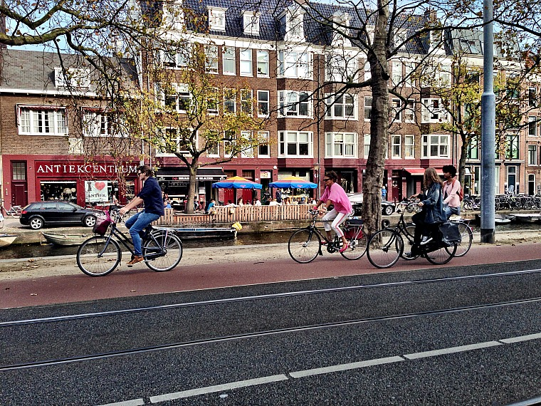 Cyclists in Amsterdam. amsterdam travel guide