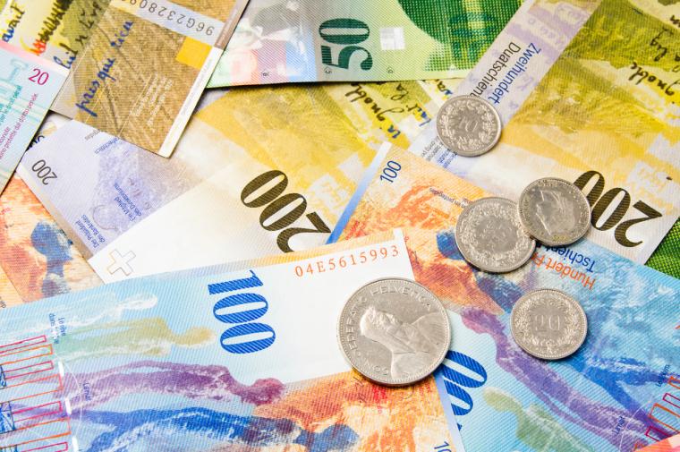 Swiss Francs. Shutterstock.