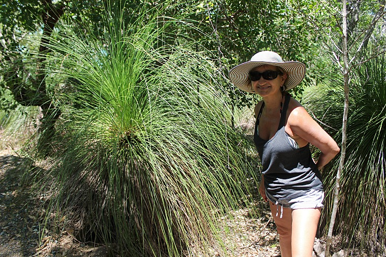 Mom looking for snakes on the bush walk.