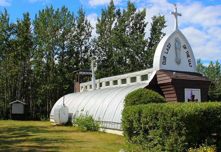 Our Lady of the Way Catholic Church was built in 1954 using parts from an old army Quonset hut. Be sure to stop at Frosty Freeze across the highway for milkshakes!