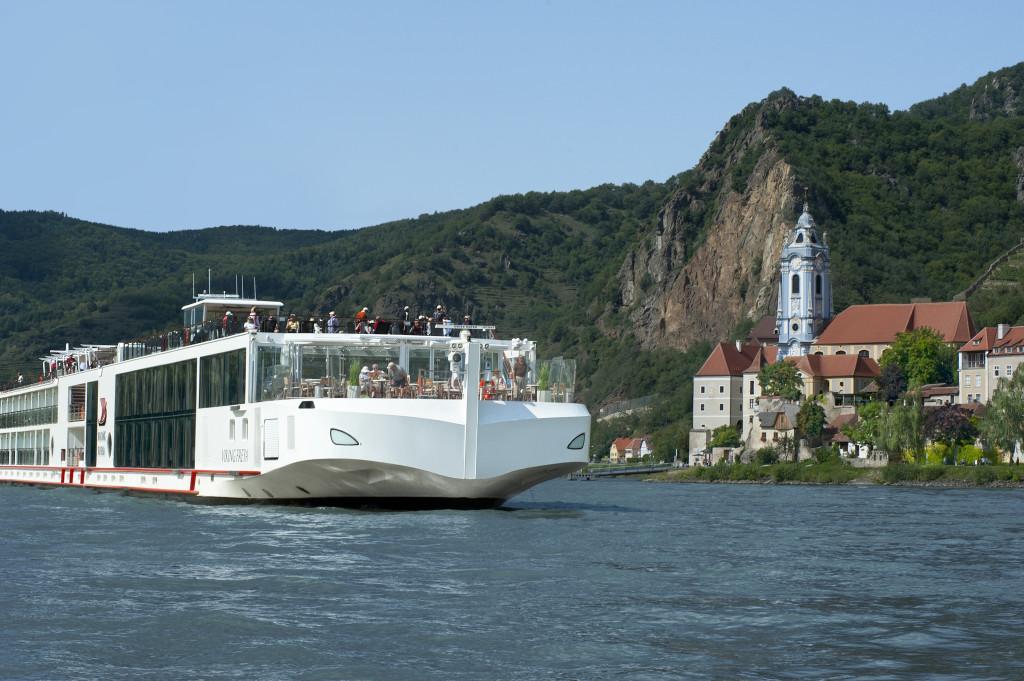 A Viking River Cruise passes by Durnstein, Austria