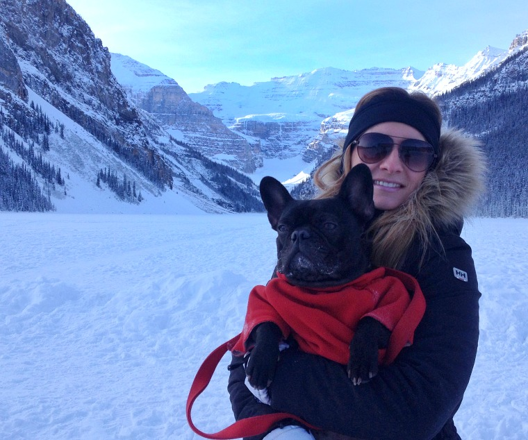 Hanging in Lake Louise, Alberta with my bud Iggy