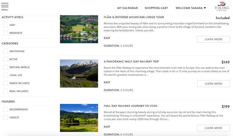 The My Viking Journey booking portal