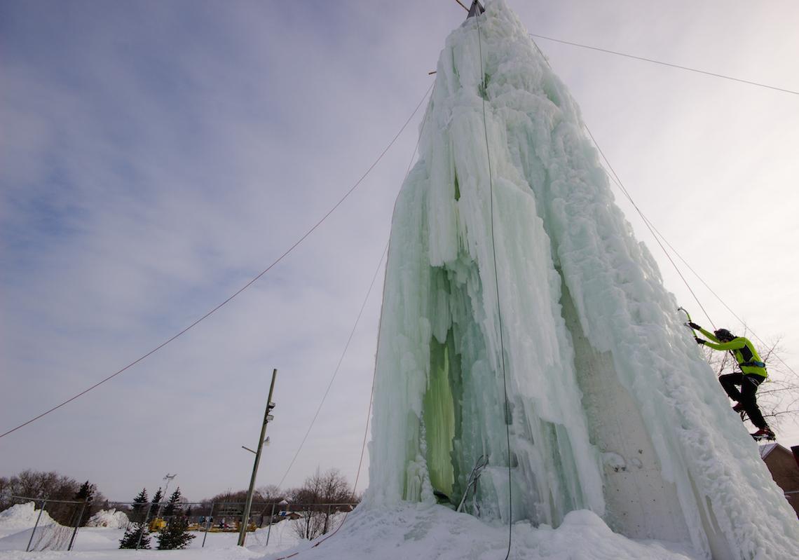 The ice climbing tower in winnipeg, manitoba