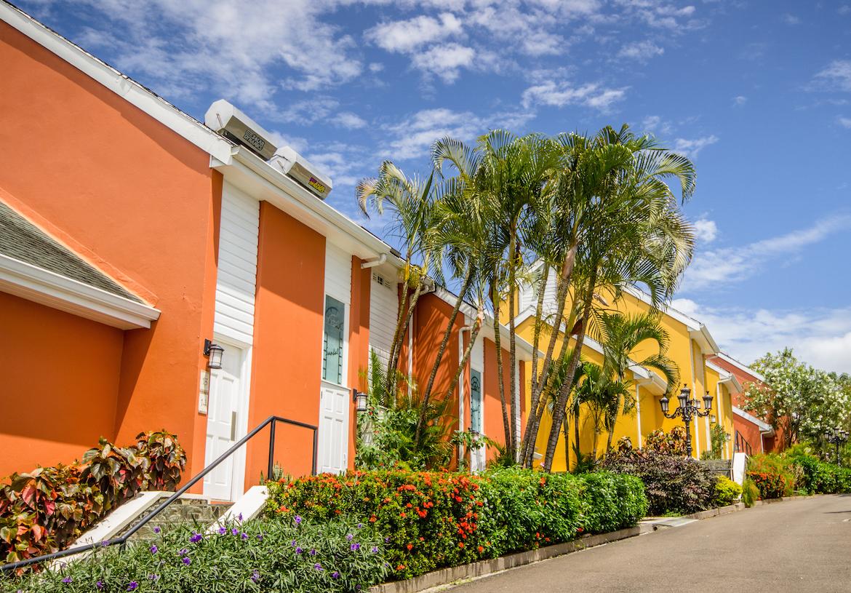 Colourful buildings at Sandals Regency La Toc.